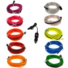 1M Colorful Flexible EL Wire Tube Rope tape Neon Light Glow Car Party + Car Cigarette Controller Red