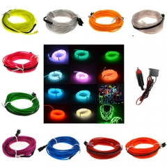 3M Colorful Flexible EL Wire Tube Rope tape Neon Light Glow Car Party + Red Car Cigarette Controller