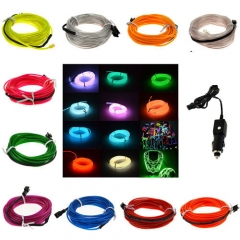 2M 10 Colors Flexible EL Wire Tube Rope tape Neon Light Glow Car Party +White Car Cigarette Controller