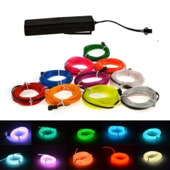3M Colorful Flexible EL Wire Tube Rope tape Neon Light Glow Car Party + 3V Sound Activated Controller