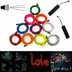 5M Colorful Flexible EL Wire Tube Rope tape Neon Light Glow Car Party + 3V Sound Activated Controller
