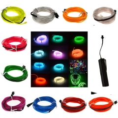 2M 10 Colors Flexible EL Wire Tube Rope tape Neon Light Glow Car Party +3V Sound Activated Controller