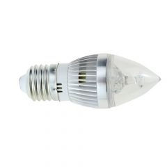 Dimmable E27 AC 220V 3W Candelabra Sliver Shell High Power LED Flame Bulb Chandelier 30W Incandescent Bulb Candle Bulb Cool Neutral Warm White