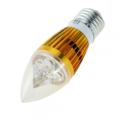 E27 AC 85-265V 5W Candelabra Golden Shell High Power LED Flame Bulb Chandelier Candle Bulb Cool Neutral Warm White