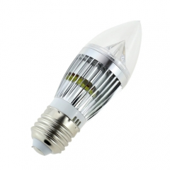 Dimmable E27 AC 110V/220V 5W Candelabra Silver Shell High Power LED Flame Bulb Chandelier Candle Bulb Cool Neutral Warm White