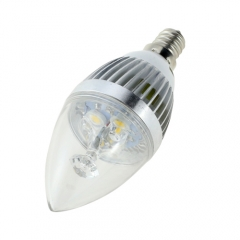 E12 AC 110V 4W Candelabra Silver Shell High Power LED Flame Bulb Chandelier Candle Bulb Cool Neutral Warm White