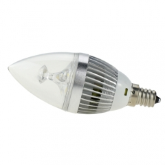 E12 AC 110V 5W Candelabra Silver Shell High Power LED Flame Bulb Chandelier Candle Bulb Cool Neutral Warm White