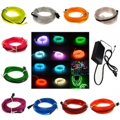 60M Colorful Flexible EL Wire Tube Rope tape Neon Light Glow Car Party + EU plug Controller