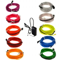 70M Colorful Flexible EL Wire Tube Rope tape Neon Light Glow Car Party + EU plug Controller