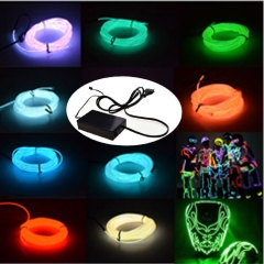 15M Colorful Flexible EL Wire Tube Rope tape Neon Light Glow Car Party + EU plug Controller