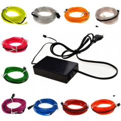 20M Colorful Flexible EL Wire Tube Rope tape Neon Light Glow Car Party + EU plug Controller