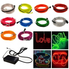 100M Colorful Flexible EL Wire Tube Rope tape Neon Light Glow Car Party + EU plug Controller