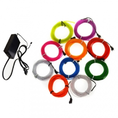 80M Colorful Flexible EL Wire Tube Rope tape Neon Light Glow Car Party + EU plug Controller