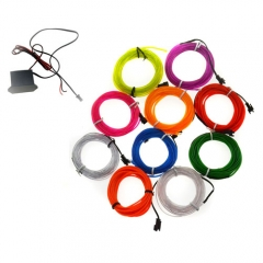 7M Colorful Flexible EL Wire Tube Rope tape Neon Light Glow Car Party + 12V controller