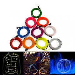 10M Colorful Flexible EL Wire Tube Rope tape Neon Light Glow Car Party + 12V controller