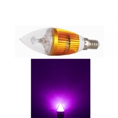 RANPO E14 6W LED Candle Light Golden Shell  Purple Color  High Power Chande Bulb AC 85-265V