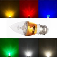 RANPO E27 6W LED Candle Light Golden Shell Red/Yellow/Blue/Green Color  High Power Chande Bulb AC 85-265V