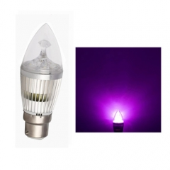 RANPO B22 6W LED Candle Light Sliver Shell Purple Color  High Power Chande Bulb AC 85-265V