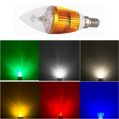 RANPO Dimmable E14 6W LED Candle Light Golden Shell Red/Blue/Green/Yellow Color  High Power Chande Bulb AC 220V