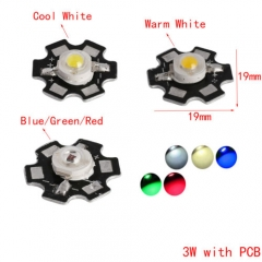 RANPO 10 pcs/lots 3W LED Chip With PCB Cool White/Warm White/Natural White/Blue/Green/Red High Power Bead Lamp