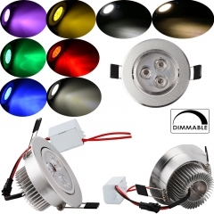 RANPO Dimmable 3W LED Ceiling Bulb Downlight Cool/ Warm/Natural White Red Yellow Blue Green Purple Recessed Lighting Fixture AC 110V / AC 220V ,300LM