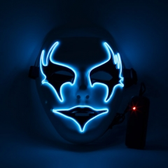 Neon Rave Ghost Masquerade Ball Dark Blue  EL Wire + Controller Halloween Party Fancy Dress Costume