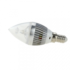 Dimmable E14 AC 220V 4W Candelabra Silver Shell High Power LED Flame Bulb Chandelier Candle Bulb Cool Neutral Warm White