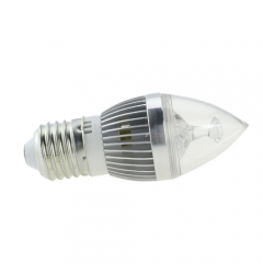 E27 AC 85-265V 5W Candelabra Silver Shell High Power LED Flame Bulb Chandelier Candle Bulb Cool Neutral Warm White