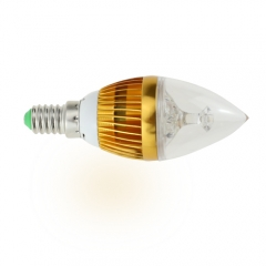 E14 AC 220V 4W Candelabra Golden Shell High Power LED Flame Bulb Chandelier Candle Bulb Cool Neutral Warm White