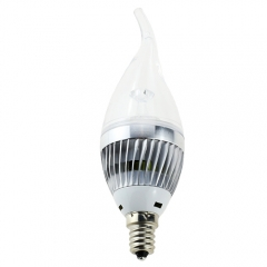 RANPO E12 5W LED Flame Candle Light Candelabra Sliver Shell High Power Chandelier 50W Incandescent Bulb Candle Bulb AC 110V