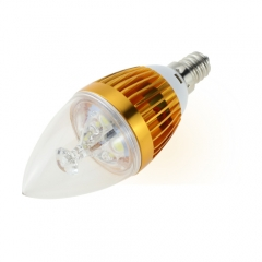 E12 AC 110V 4W Candelabra Golden Shell High Power LED Flame Bulb Chandelier Candle Bulb Cool Neutral Warm White
