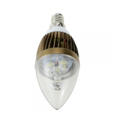 E12 AC 110V 5W Candelabra Bronze Shell High Power LED Flame Bulb Chandelier Candle Bulb Cool Neutral Warm White
