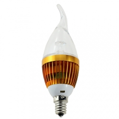 RANPO Dimmable E12 4W LED Flame Candle Light Candelabra Golden Shell High Power Chandelier 40W Incandescent Bulb Candle Bulb AC 110V