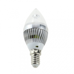E14 AC 220V 5W Candelabra Silver Shell High Power LED Flame Bulb Chandelier Candle Bulb Cool Neutral Warm White