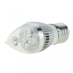 E27 AC 85-265V 4W Candelabra Silver Shell High Power LED Flame Bulb Chandelier Candle Bulb Cool Neutral Warm White