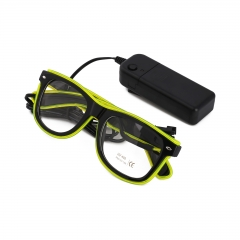 LED Special Neon Bright Green EL Wire Glasses  + Controller Light Up Glow Sunglasses for Christmas Night Club Dark Party