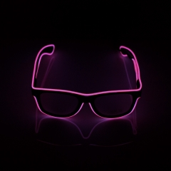 LED Special Neon Pink EL Wire Glasses  + Controller Light Up Glow Sunglasses for Christmas Night Club Dark Party