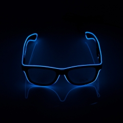 LED Special Neon Dark Blue EL Wire Glasses  + Controller Light Up Glow Sunglasses for Christmas Night Club Dark Party