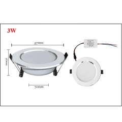 3W LED Recessed Ceiling Flat Panel Down Light Ultra Slim Bulb Lamps AC 85-265V