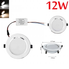 RANPO Dimmable 12W LED Recessed Ceiling Flat Panel Down Light Ultra Slim Bulb Lamps AC 110V/220V