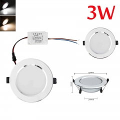 RANPO Dimmable 3W LED Recessed Ceiling Flat Panel Down Light Ultra Slim Bulb Lamps AC 110V/220V
