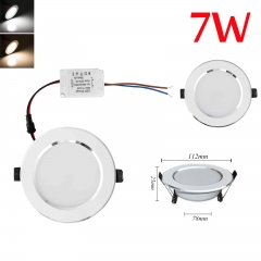 RANPO Dimmable 7W LED Recessed Ceiling Flat Panel Down Light Ultra Slim Bulb Lamps AC 110V/220V