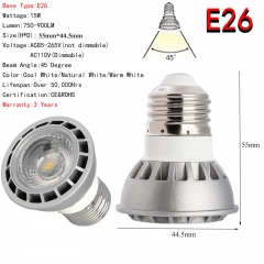 Ranpo Dimmable Ultra Bright 15W E26 LED Spotlight COB Lights Bulb CREE Lamp AC 110V