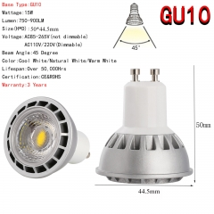 Ranpo Ultra Bright 15W GU10 LED Spotlight COB Lights Bulb CREE Lamp AC 85-265V