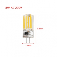 RANPO Ultra Bright 8W G4 2809SMD Silicone Crystal LED Corn Bulb SpotLight Lamp Cool Warm White AC 220V