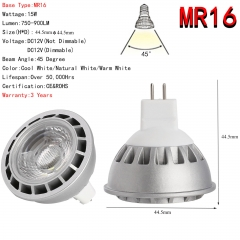 Ranpo Dimmable Ultra Bright 15W MR16 LED Spotlight COB Lights Bulb CREE Lamp DC 12V