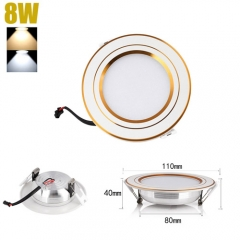 RANPO 8W LED Recessed Ceiling Lights Flat Panel Down Light Lamp AC 85-265V