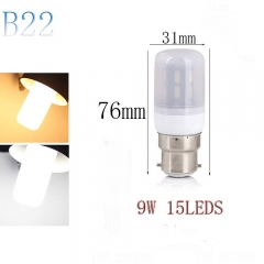 RANPO B22 9W 15LEDs LED Corn Bulb 7030 SMD Light Lamp Milky White Cool Warm White AC 220V