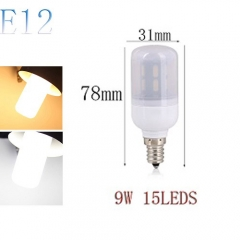 RANPO E12 9W 15LEDs LED Corn Bulb 7030 SMD Light Lamp Milky White Cool Warm White AC 110V