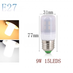 RANPO E27 9W 15LEDs LED Corn Bulb 7030 SMD Light Lamp Milky White Cool Warm White AC 110V 220V